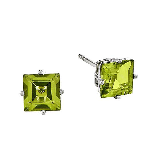 Genuine Peridot 14K White Gold Square Step-Cut Earrings