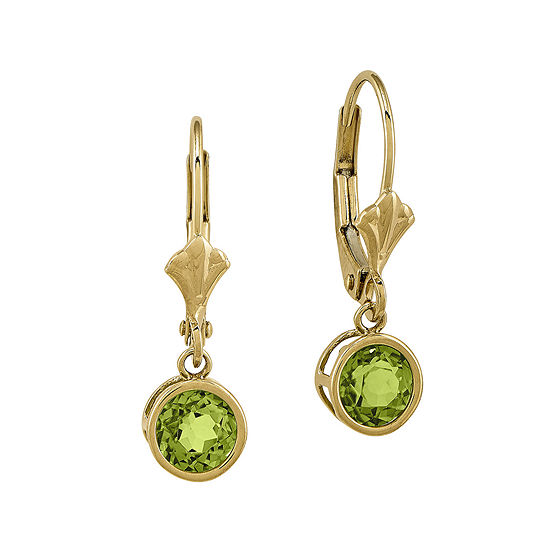 Genuine Peridot 14K White Gold Round Leverback Earrings