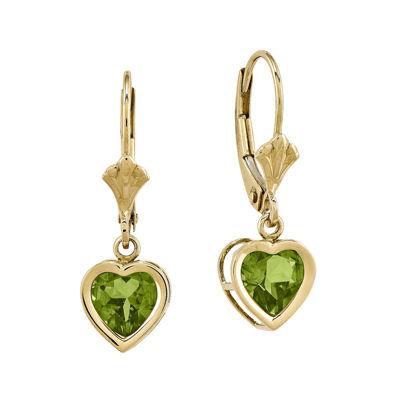 Genuine Peridot 14K Yellow Gold Heart-Shaped Drop Earrings
