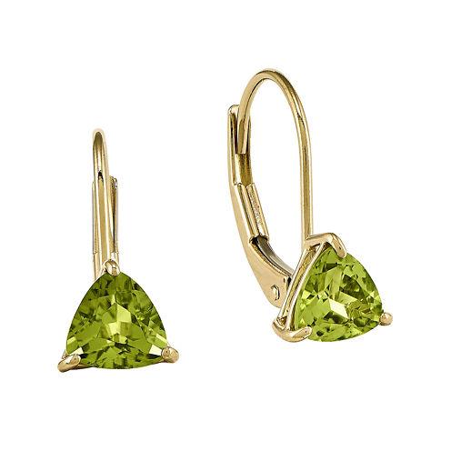 Genuine Peridot 14K Yellow Gold Trillion-Shaped Drop Earrings