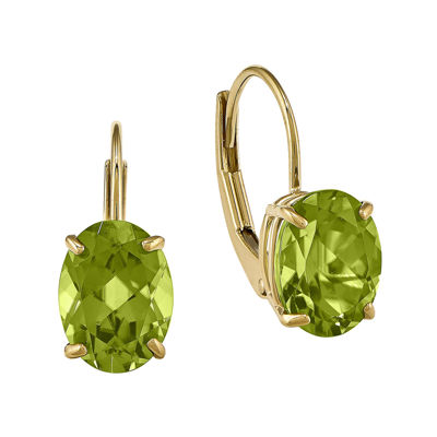 Genuine Peridot 14K Yellow Gold Oval Drop Earrings