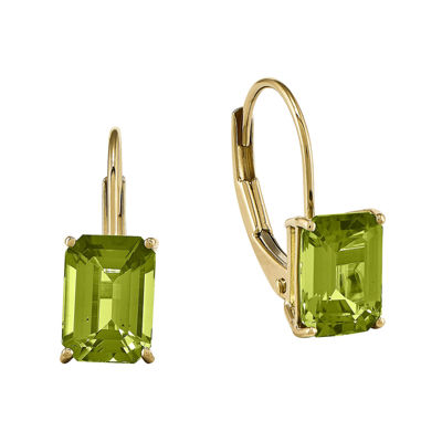 Genuine Peridot 14K Yellow Gold Emerald-Cut Earrings
