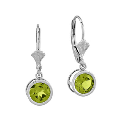 Genuine Peridot 14K White Gold Round Drop Earrings