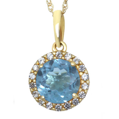 Genuine Swiss Blue Topaz and Lab-Created White Sapphire Halo Pendant Necklace
