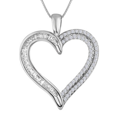 1/3 CT. T.W. Diamond 10K White Gold Heart Pendant Necklace
