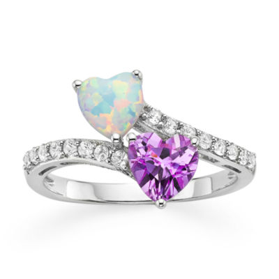 Lab-Created Opal, Pink & White Sapphire Double Heart Bypass Ring in Sterling Silver