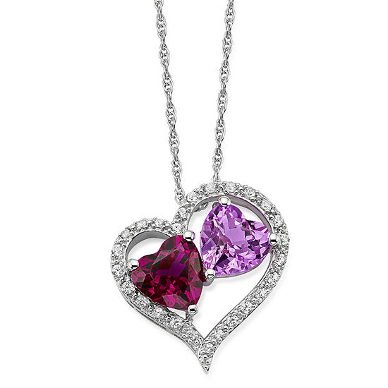 Lab-Created Ruby, Pink & White Sapphire Sterling Silver Double Heart Pendant Necklace