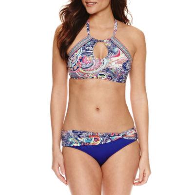 Liz Claiborne Paisley High Neck Swimsuit Top