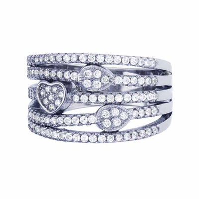 Sterling Silver 5-Row Cubic Zirconia Heart And Teardrop Cocktail Ring