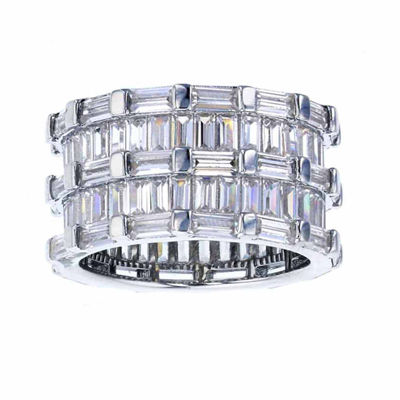 Sterling Silver Baguette-Cut Cubic Zirconia Eternity Ring