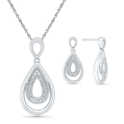 Womens 2-pack White Diamond Sterling Silver Jewelry Set