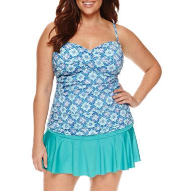 jcpenney.com   Liz Claiborne Aqua Tint  Bandeaukini - Plus