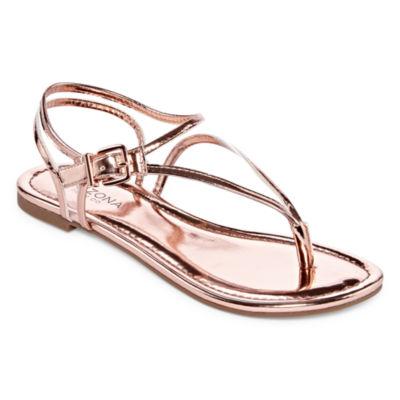 Arizona Womens Brenna Ankle Strap Flat Sandals
