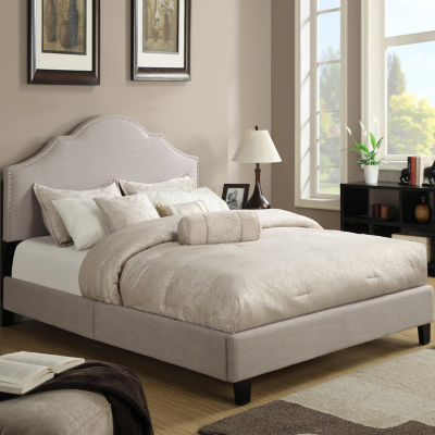 Home Meridian All in One Upholstered Nailhead Bed