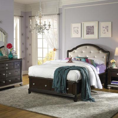 Glamour's Dark Cherry Finish Bed - Full