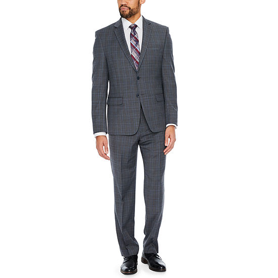 Collection by Michael Strahan Grey Plaid Classic Suit Separates