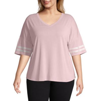 Flirtitude Short Sleeve V Neck T-Shirt-Womens Juniors Plus
