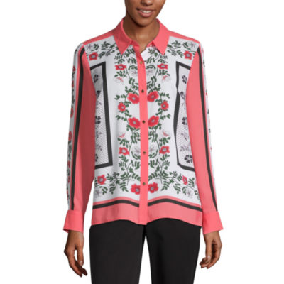 Liz Claiborne Secret Garden Womens Long Sleeve Blouse