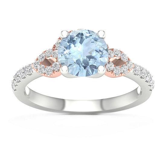 Modern Bride Gemstone Womens 1/4 CT. T.W. Genuine Blue Aquamarine 10K Rose Gold Round Engagement Ring
