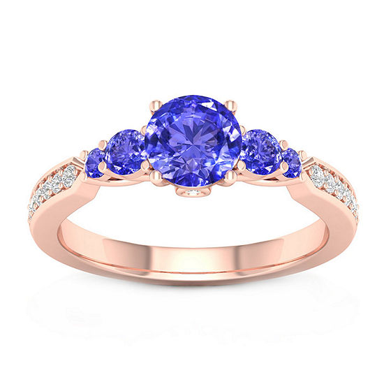 Modern Bride Gemstone Womens 1/10 CT. T.W. Genuine Blue Tanzanite 10K Rose Gold Round Engagement Ring
