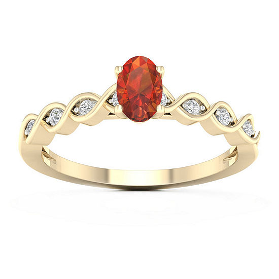 Womens Diamond Accent Genuine Yellow Citrine 10K Gold Cocktail Ring