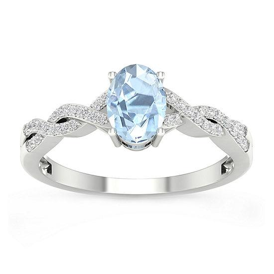 Womens 1/10 CT. T.W. Genuine Blue Aquamarine 10K Gold Cocktail Ring