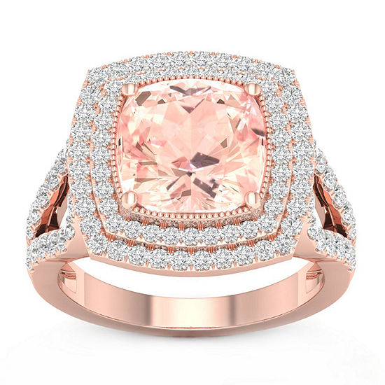 Womens 3/4 CT. T.W. Genuine Pink Morganite 10K Gold Engagement Ring