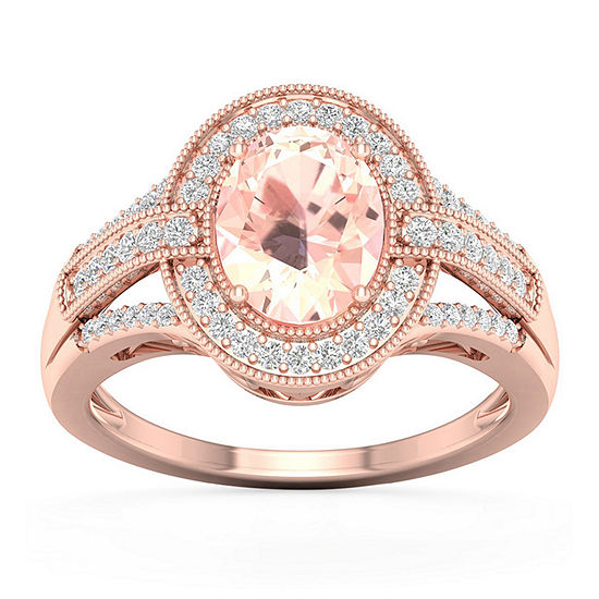 Womens 1/2 CT. T.W. Genuine Pink Morganite 10K Gold Engagement Ring