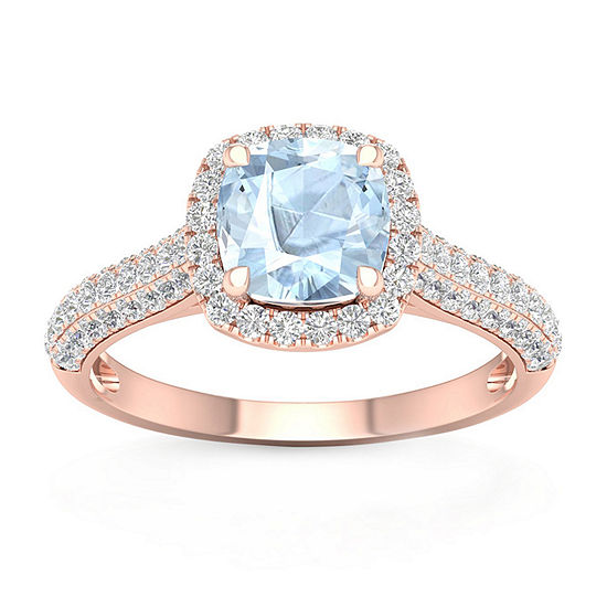 Womens 1/2 CT. T.W. Genuine Blue Aquamarine 10K Gold Cocktail Ring