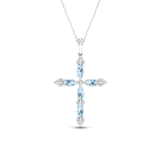 Womens 1/10 CT. T.W. Genuine Blue Aquamarine 10K Gold Cross Pendant Necklace