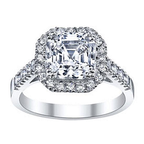 DiamonArt® Asscher-Cut Cubic Zirconia Sterling Silver Ring