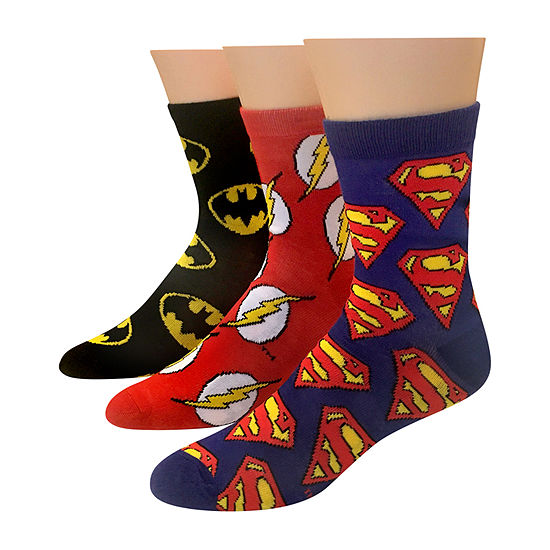 3 Pair DC Comics Quarter Socks-Mens