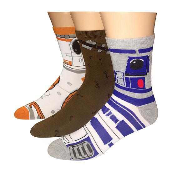 Mens 3 Pair Star Wars Quarter Socks