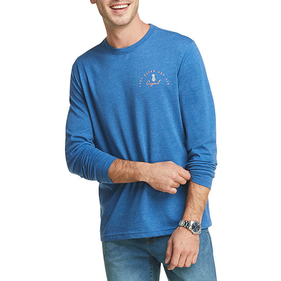IZOD Saltwater Mens Crew Neck Long Sleeve Graphic T-Shirt