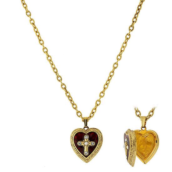 1928 Religious Jewelry Religious Jewelry 16 Inch Link Cross Locket Necklace