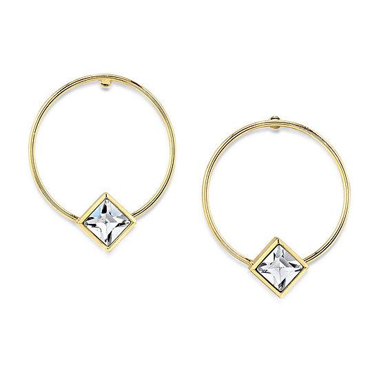 1928 1 Pair 14K Gold Over Brass Hoop Earrings