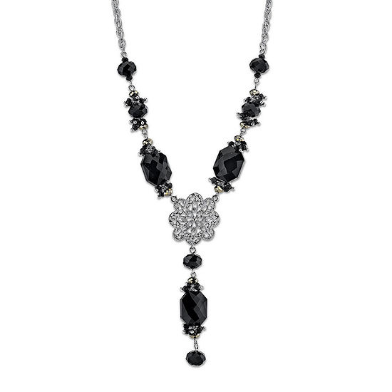 1928 Religious Jewelry Black 30 Inch Bead Cross Rosary Necklaces