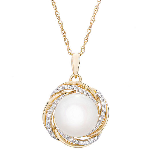 Womens 1/10 CT. T.W. Genuine Diamond Cultured Freshwater Pearl 14K Gold Pendant