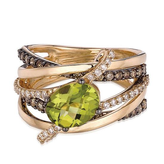 LIMITED QUANTITIES! Le Vian Grand Sample Sale™ Green Apple Peridot™ Vanilla Diamonds® & Chocolate Diamonds® Ring set in 14K Honey Gold™