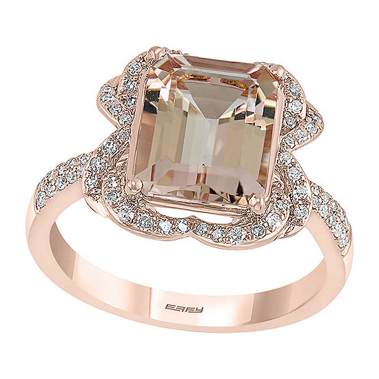 LIMITED QUANTITIES! Effy Final Call Womens 1/4 CT. T.W. Genuine Pink Morganite 14K Rose Gold Cocktail Ring
