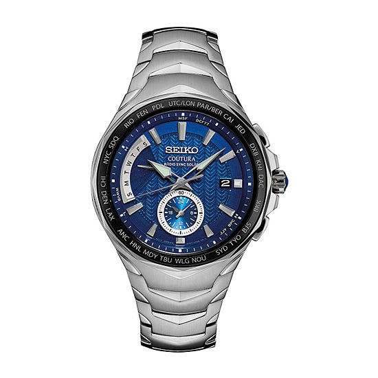 Seiko Coutura Blue Dial Mens Silver Tone Stainless Steel Bracelet Watch-Ssg019