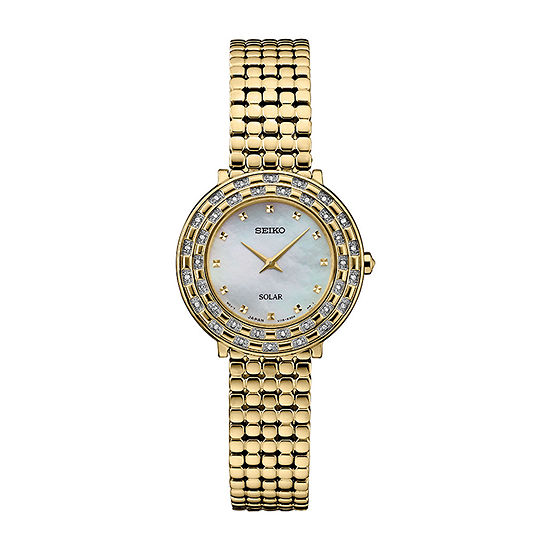 Seiko Tressia Solar Womens Diamond Accent Gold Tone Stainless Steel Bracelet Watch-Sup374