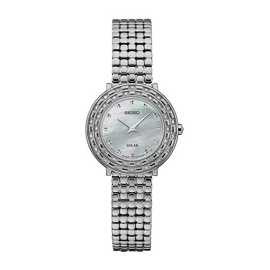 Seiko Tressia Solar Womens Diamond Accent Silver Tone Stainless Steel Bracelet Watch - Sup373