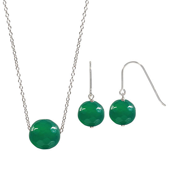Genuine Green Agate Sterling Silver 2-pc. Jewelry Set
