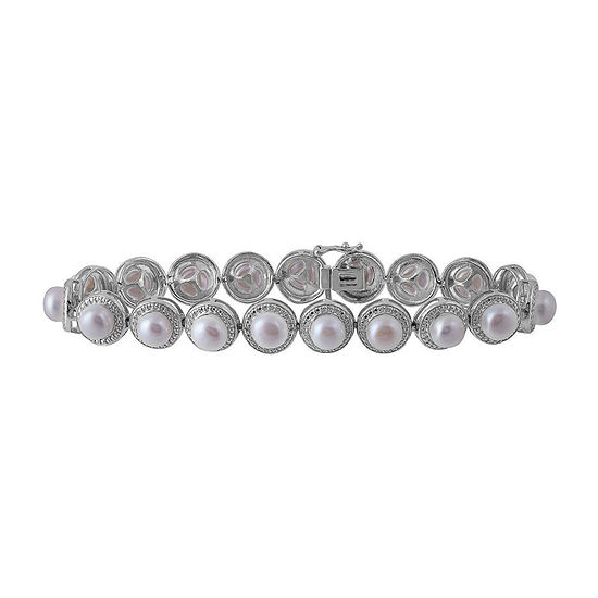 Diamond Accent Genuine White Cultured Freshwater Pearl Sterling Silver Beaded Bracelet