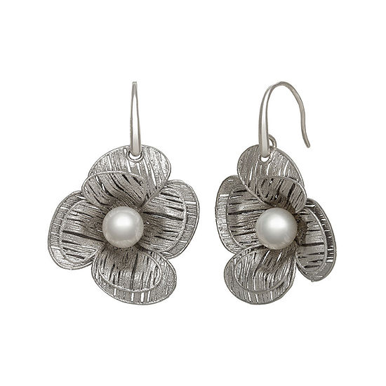 Cultured Freshwater Pearl Sterling Silver Flower Earring