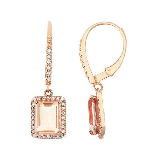 Simulated Morganite Quartz And 1/3 C.T. T.W.Diamond 10K Rose Gold Earrings
