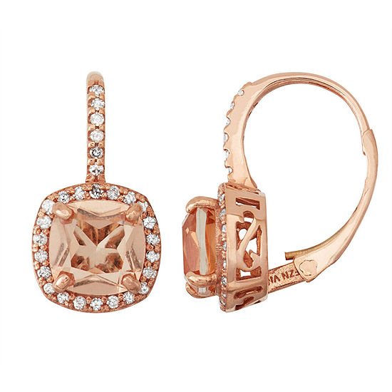 Simulated Morganite Quartz And 1/4 C.T. T.W.Diamond 10K Rose Gold Earrings