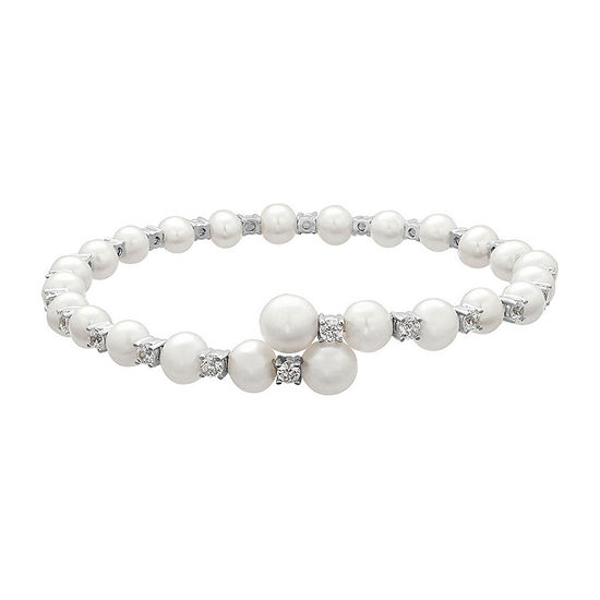 Certified Sofia™ Bridal Cultured Freshwater Pearl & Swarovski® Cubic Zirconia Silver Flex Bangle