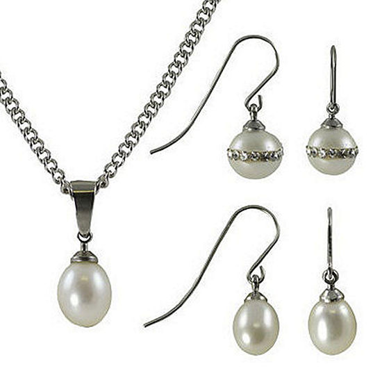 White Stainless Steel 3-pc. Jewelry Set